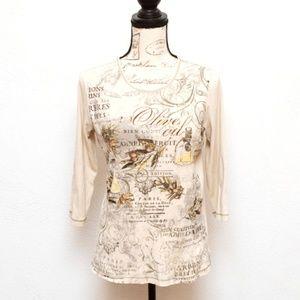 Christopher & Banks Tee T Shirt Womens Sz M Tan